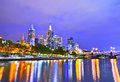 Melbourne skyline at dusk Royalty Free Stock Photo