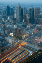 Melbourne skyline over flinders st station at dusk from eureka tower in victoria australia Royalty Free Stock Image