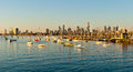 Melbourne skyline from St Kilda Stock Photo