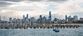 Melbourne from st kilda with winter sky seen the beach at Royalty Free Stock Image