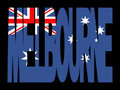 Melbourne text with flag Royalty Free Stock Images