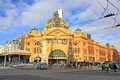 Melbournes flinders stree station australia busy street in melbourne Royalty Free Stock Photo