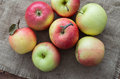The mellow apples on brown sackcloth Royalty Free Stock Photography