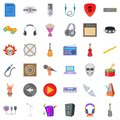 Melodic icons set, cartoon style Royalty Free Stock Photo