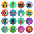 Melody and music icons set round shadow with musical instruments flat vector illustration Royalty Free Stock Images