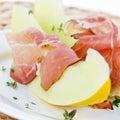 Melon and ham Royalty Free Stock Photo