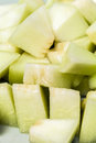Melon sliced in small pieces close up macro shot Stock Images