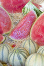 Melons ready for sale on the market. Stock Photo
