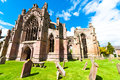 Melrose abbey side entrance of the in scotland uk Royalty Free Stock Photos