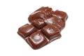 Melted chocolate bar close up Stock Images