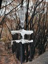 This road sign on the Bells Line of Road melted as flames jumped the road in the Blue Mountains National Park Royalty Free Stock Photo