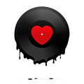 Melted vinyl record with heart vector illustration Stock Photo