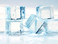 Melting ice picture cubes on white background Stock Photo
