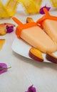 Melting peach ice-cream Royalty Free Stock Photo