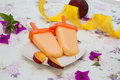 Melting peach ice-cream Royalty Free Stock Photo