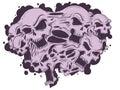 Melting skulls together vector file Royalty Free Stock Image