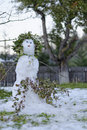 Melting snowman in garden decorated with tree branches Royalty Free Stock Photo