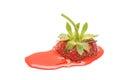 Melting strawberry isolated on the white background red splash Royalty Free Stock Images