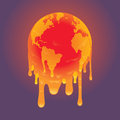 Melting world a planet earth vector draw Royalty Free Stock Photo