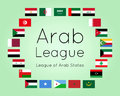Member states of Arab League, vector set of country flags