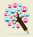 Member user concept pencil tree social media study design vector illustration layered for easy manipulation and custom coloring Royalty Free Stock Images