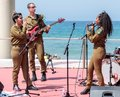 Members of the Army Music Group perform in the city of Haifa in honor of the 70th anniversary of the independence of the State of Royalty Free Stock Photo