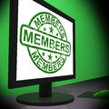 Members computer shows membership registration showing and internet subscribing Royalty Free Stock Image