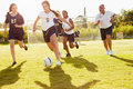 Members Of Female High School Soccer Playing Match Royalty Free Stock Photo