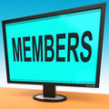 Members online shows membership registration showing and web subscribing Stock Image