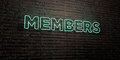 MEMBERS -Realistic Neon Sign on Brick Wall background - 3D rendered royalty free stock image