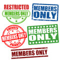 Members only stamps set of grunge rubber with text inside vector illustration Royalty Free Stock Photos