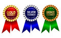 Membership award ribbon rosette gold silver and bronze in red blue green colors isolated on white background Royalty Free Stock Image