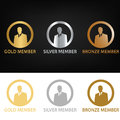 Gold member, silver member, bronze member, bronze to gold. Royalty Free Stock Photo