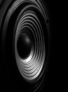 Membrane of a sound speaker black and white image isolated on black background Stock Image