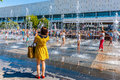 Memento photo by the fountain in museon park of moscow russia on sunday july has been operation since may Stock Images