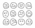 Memes, emotions, vector icons, round, with a cross.