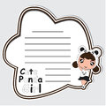 Memo card paper cartoon with cute panda girl on black frame suitable for kid postcard