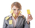 Memo girl business woman with many yellow note on her body closeup portrait Royalty Free Stock Images