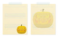 Memo notes with halloween pumkin Stock Photos