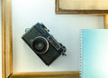 Memoirs, diaries, cameras, frame white background notebook Royalty Free Stock Photo