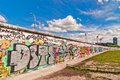 Memorable segment of Berlin Wall with graffiti Royalty Free Stock Photo