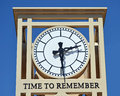 Memorial clock a modern town with the words time to remember on the tower Royalty Free Stock Image