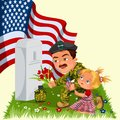 Memorial Day, man with children on military cemetery near grave with white monument to veteran, girl memory and remember