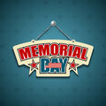 Memorial day american signs hanging with chain star background illustration Royalty Free Stock Images