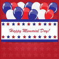 Memorial day background with balloons and american flag colors Stock Images
