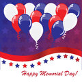 Memorial day background with balloons and american flag colors Royalty Free Stock Photography