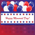 Memorial day background with balloons and american flag colors Stock Photo