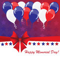 Memorial day background with balloons and american flag colors Stock Image