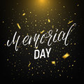 Memorial Day. Background with lettering, garland of USA flag and confetti