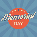 Memorial Day background. Retro style vector illustration with text and stars for posters, flyers in colors of USA flag. Royalty Free Stock Photo